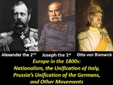Nationalism in the Late 1800s Italy and Germany: PowerPoint, Worksheets, & Notes