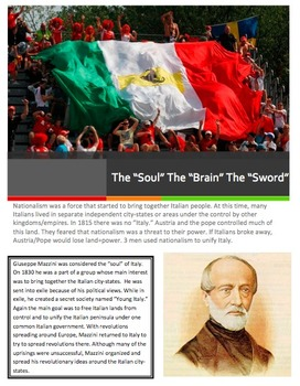 Nationalism/Unification of Italy Full Lesson w/Close Read and Activity!
