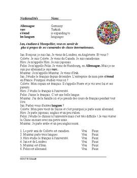 Nationalités Lecture en Français - French Reading on Nationalities / Languages