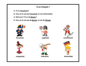 Nationalités, adjectives of nationalities, dialogue in French, French 1