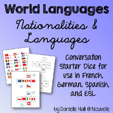 Nationalities, Languages in French, German, Spanish - Conversation Starter Dice