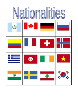 Nationalities in English Bingo