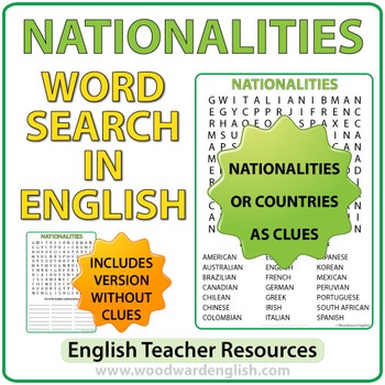 Nationalities in English - Word Search