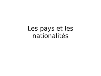 Nationalities in French
