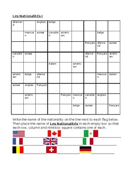Nationalités (Nationalities in French) Sudoku
