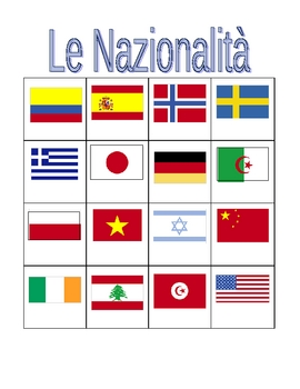 Nazionalità (Nationalities in Italian) Bingo game