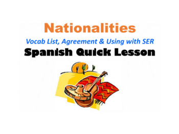 Nationalities in Spanish (Agreement, Using with SER): Span