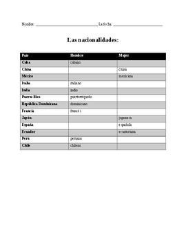 Nationalities in Spanish--Mundo Real 1