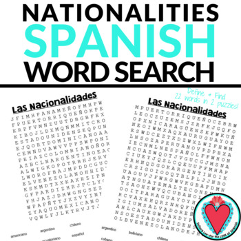 Nationalities in Spanish WORD SEARCH