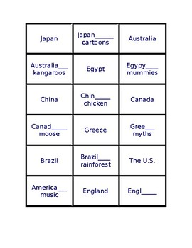 Nationality Memory Game