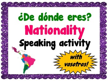 Nationality Speaking Activity - ¿De dónde eres?