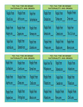 Nationality and Origin Tic-Tac-Toe or Bingo