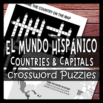 Nations/Capitals - Spanish Speaking World - Culture Crossword Puzzle Worksheets