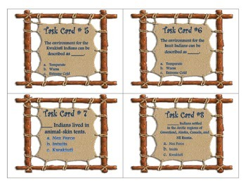 Native America Tribes Task Cards 4th Grade