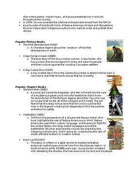 Native American Author: Joseph Bruchac (Student Worksheet)