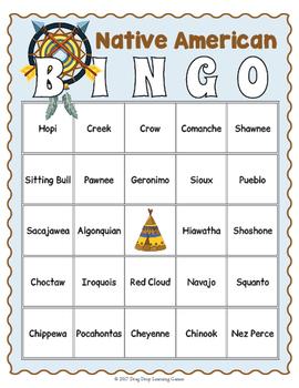 Native American Game - American Indian Tribes BINGO