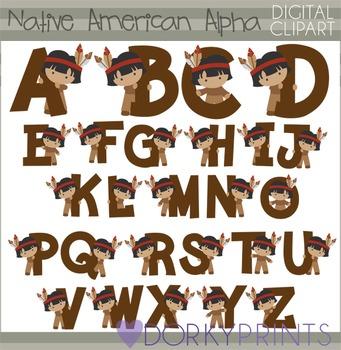 Native American Boy Alphabet Thanksgiving Clip Art