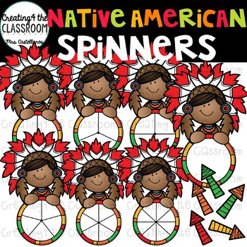 Native American Boy Spinners Clip Art {Thanksgiving Clip Art}