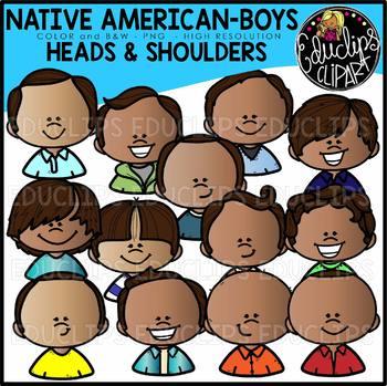 Native American Boys Heads & Shoulders Clip Art Set {Educlips Clipart}