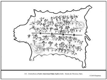 Native American Buffalo Robe. Coloring page and lesson plan ideas