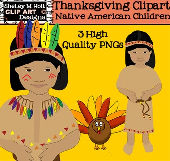 Native American Children Thanksgiving Clipart