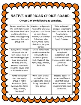 Native American Choice Board