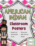 American Indian Classroom Posters - Hopi Inuit Kwakiutl Pawnee Native American