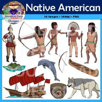 Native American Clip Art (Chief, Canoe, Island, Blue Dolphin, Indian)