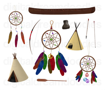 Native American Clip Art - Tribal Indian Digital Graphics