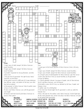 Native American Conflicts Comprehension Crossword