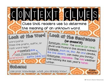 Native American Context Clues Task Cards, Anchor Chart and Quiz