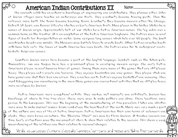 Native American Contributions to American Culture Reading Passages