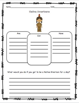 Native American Craftivity and Printables