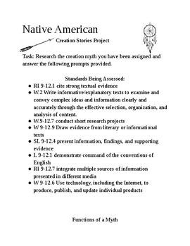 Native American Creation Myth Project