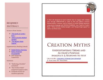 Native American Creation Myth Unit