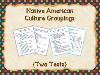 Native American Culture Groupings {Study Guides and Tests}