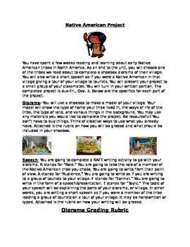 Native American Diorama Writing Project