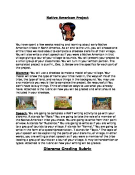 Native American Diorama Writing Project