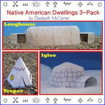 Native American Studies Craft: Dwellings 3-Pack (Pack #1) BUNDLE