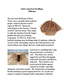 Native American Dwellings:  Pit Houses