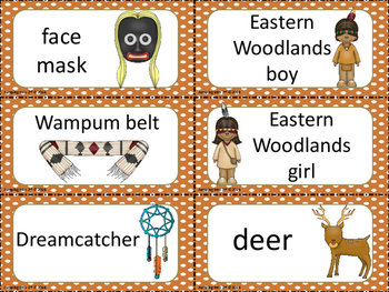 Native American Eastern Woodlands Picture and Word Cards