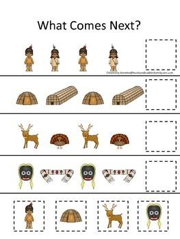 Native American Eastern Woodlands Indians themed Alphabet Sequence preschool gam