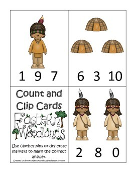 Native American Eastern Woodlands Indians themed Count and Clip preschool game