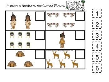 Native American Eastern Woodlands Indians themed Match the Number preschool game