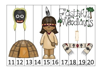 Native American Eastern Woodlands Indians themed Number Sequence 11-20 puzzle.