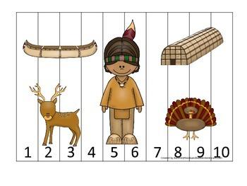 Native American Eastern Woodlands Indians themed Number Se