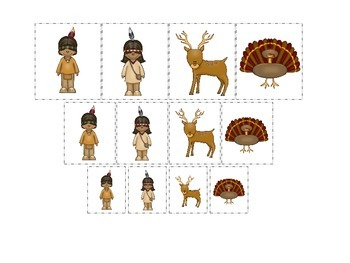 Native American Eastern Woodlands Indians themed Size Sorting preschool gam