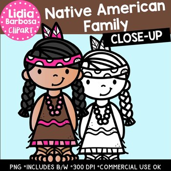 Native American Family: Thanksgiving Clipart {Lidia Barbosa Clipart}