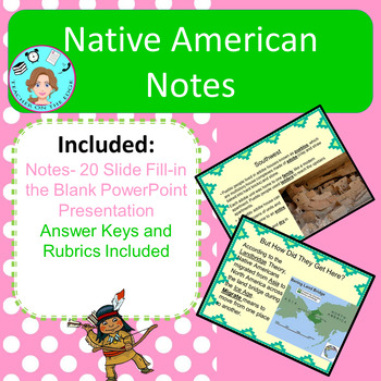 Native American Fill-in the Blank Notes – Elementary – No Prep, Print & Go
