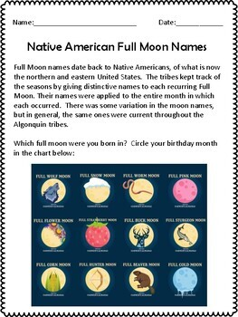 Native American Full Moon Names Project: digital or poster project included!